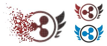 Ondulation tramée déchiquetée Angel Investment Icon de pixel illustration stock