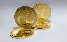 Ondulation virtuelle de pièces d'or de crypto devise de Digital Photos stock