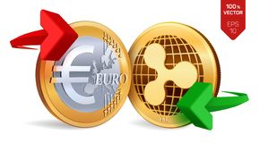 Ondulazione all'euro cambio ondulazione Euro violento a metà contro vecchia priorità bassa Cryptocurrency Monete dorate con il si illustrazione di stock