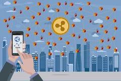 Ondulazione Cryptocurrency e rete di Blockchain Immagini Stock Libere da Diritti