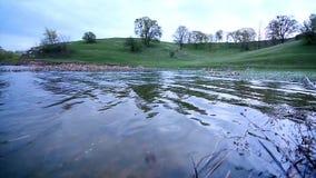 Ondulazioni sull'acqua in un lago stock footage