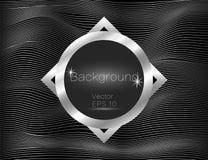 Onduleux argenté, lignes luxe Fond de rayures de texture de vecteur, avec le plat carré foncé L'enroulement de la bande Panneau d illustration de vecteur