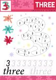 Learn numbers 3. Three. Kids learn to count worksheet. Children educational game for numbers. Vector illustration stock illustration