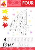 Learn numbers 4. Four. Kids learn to count worksheet. Children educational game for numbers. Vector illustration. stock illustration