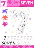 Learn numbers 7. Seven. Kids learn to count worksheet. Children educational game for numbers. Vector illustration. royalty free illustration