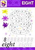 Learn numbers 8. Eight. Kids learn to count worksheet. Children educational game for numbers. Vector illustration. stock illustration