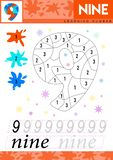 Learn numbers 9. Nine. Kids learn to count worksheet. Children educational game for numbers. Vector illustration. vector illustration