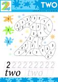 Learn numbers 2. Two. Kids learn to count worksheet. Children educational game for numbers. Vector illustration. vector illustration