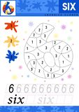 Learn numbers 6. Six. Kids learn to count worksheet. Children educational game for numbers. Vector illustration. stock illustration