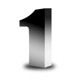 One. Chrome number one with shadow over white background Stock Photo