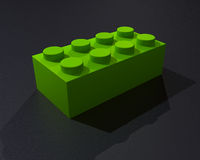 One 3D lego green block Stock Images