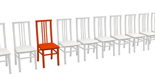 One 3d red chair in a row of white chairs Royalty Free Stock Photo