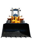 One actual new bulldozer on white Stock Photo