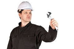 Handyman wearing uniform and hardhat Royalty Free Stock Photo