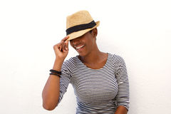 One african american woman smiling with hat Royalty Free Stock Images