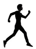 Handsome african young man running  silhouette Stock Images