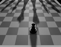 One against all concept with chess pawn Stock Image