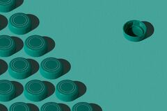 Free One Against All. Green Plastic Bottle Caps Pattern On Green Background. Royalty Free Stock Image - 173156336