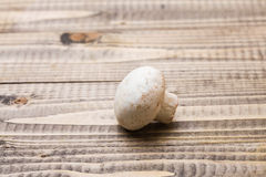 One agaricus. Closeup photo of one raw white agaricus with smooth surface on wooden table, horizontal picture Stock Images