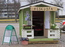 One of agitation kiosks on central square in Hameenlinna, Finland Stock Image