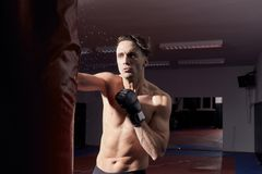 One agressive boxer, upper body shot. Boxing gloves, punching boxing bag Stock Images