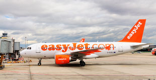 EasyJet Aircraft. One of the aircrafts of EasyJet, just about to leave Madrid airport stock images