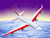 One airplane flying over clouds Royalty Free Stock Image