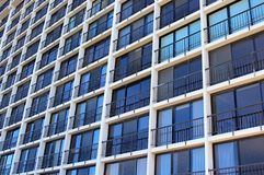 Oceanview glass windows of the building. One all glass wall building of UCSD locates at San Diego, California Royalty Free Stock Images