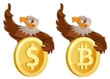One American Bald eagle holding dollar symbol and another eagle. One American Bald eagle  holding dollar symbol and another eagle holding bitcoin symbol. Cartoon Royalty Free Stock Photography