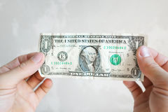 One american dollar banknote in male hands Royalty Free Stock Photo