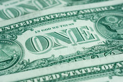 One American dollar. Close up Royalty Free Stock Photo