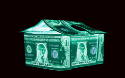 One American Dollar House, U.S. currency-- in UV light protection Stock Image