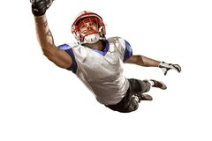 One american football player man studio isolated on white background. Active one american football player isolated on white background. Fit caucasian man in Stock Photography