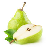 One ana a half isolated green pears Royalty Free Stock Photos