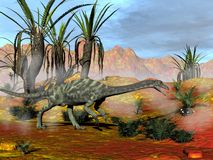 Anchisaurus dinosaurs - 3D render. One anchisaurus dinosaureating a cycad in red desert - 3D render royalty free illustration
