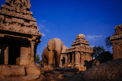 One of the ancient architectural wonders of the Pallava kings Stock Images