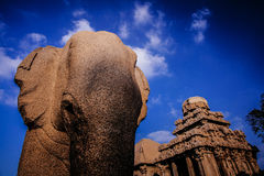 One of the ancient architectural wonders of the Pallava kings Stock Image