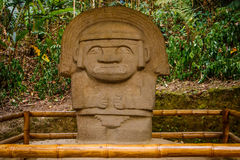 One of the ancient statues in San Augustin park, Colombia. One of the ancient statues in San Augustin archeological park, Colombia royalty free stock image