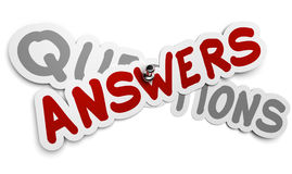Questions and Answers. One answer sticker fixed by using a thumbtack over a grey word questions, white background, FAQ concept Royalty Free Illustration