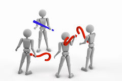One answer to three questions. Abstract puppet people. render 3D illustration, three person holding question mark, one man holding exclamation mark,  Isolated Stock Photography