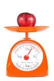 One apple. Lying on weight scale Royalty Free Stock Images