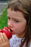 One Apple a Day. Young girl eating an Apple Royalty Free Stock Image