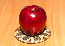 One apple on the table. One red apple on the table Royalty Free Stock Photography