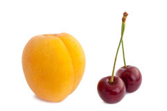 One apricot and dual cherry Stock Photo