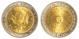 One argentine peso coin Stock Photography