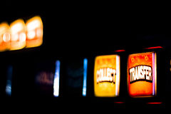 One arm bandit slot machine in casino. At night photograph royalty free stock photos