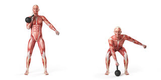 One arm kettlebell clean Royalty Free Stock Image