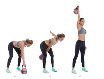 One arm kettlebell snatch Royalty Free Stock Photo