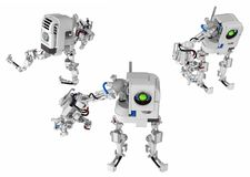 One Arm Robot. Robotic figure with one arm 3d illustration, horizontal, over white, isolated stock illustration
