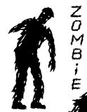 One-armed black zombie silhouette in leaky clothes. Vector illustration. Royalty Free Stock Photography